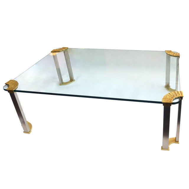1970s Italian Modernist Glass & Bronze Coffee Table For Sale - Image 5 of 5