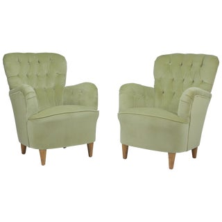 Super Luxurious Glam Pair of Swedish Club Chairs Attributed to Elias Svedberg For Sale