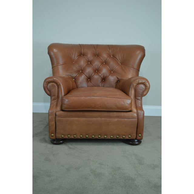 Brown Tufted Leather Writers Club Chair (A) For Sale - Image 10 of 13