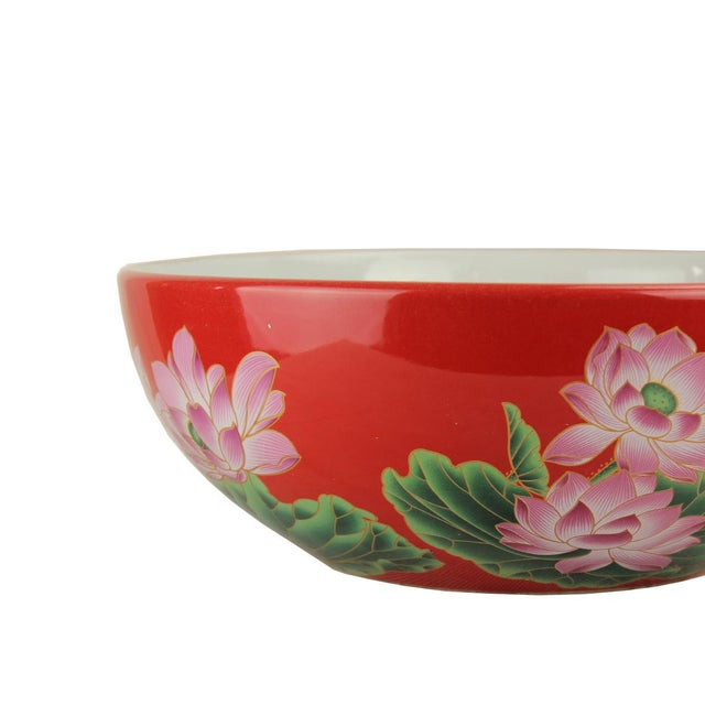 2010s Pasargad DC Modern Red & White Motif Sink Bowl For Sale - Image 5 of 6