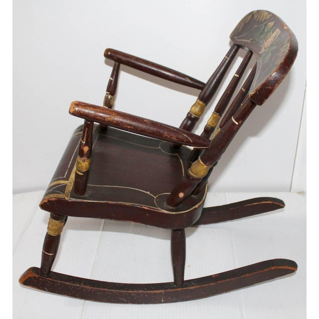 19th Century York County Pennsylvania, Original Painted Child's Rocking Chair - Image 2 of 9