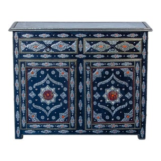 Moroccan Silver 2-Drawer 2-Door Cabinet with Bone Accents For Sale