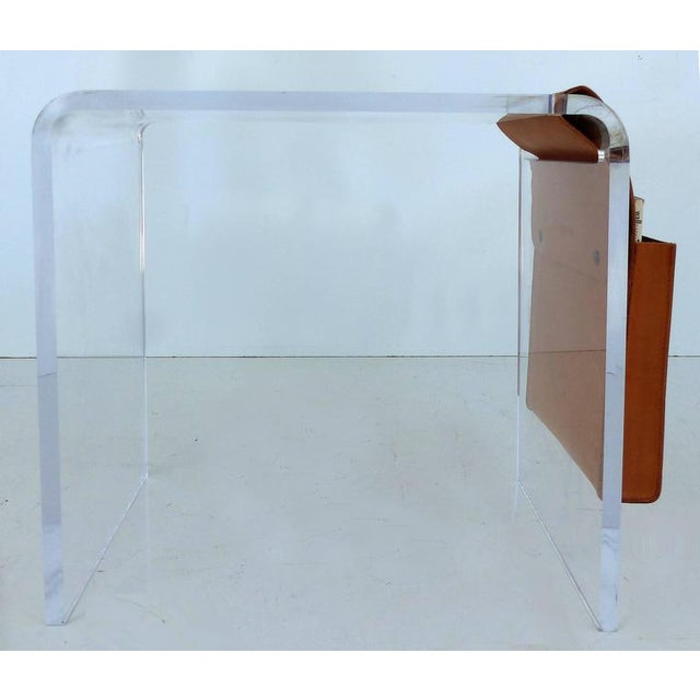 Modern Custom-Made Lucite Side Table with Leather Magazine Pocket For Sale - Image 3 of 10