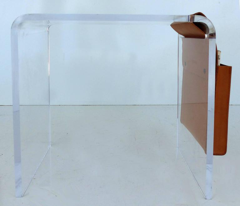 Modern Custom Made Lucite Side Table With Leather Magazine Pocket For Sale    Image 3