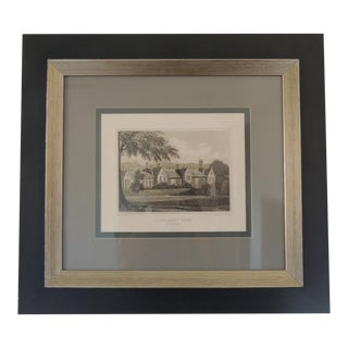 English Manors Engraving Reproduction in Black and White Framed #3 For Sale