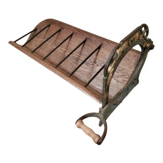 Wine Bottle Display Rack From 19th C. French Bakery Cast Iron Bread Slicer / Cutter For Sale