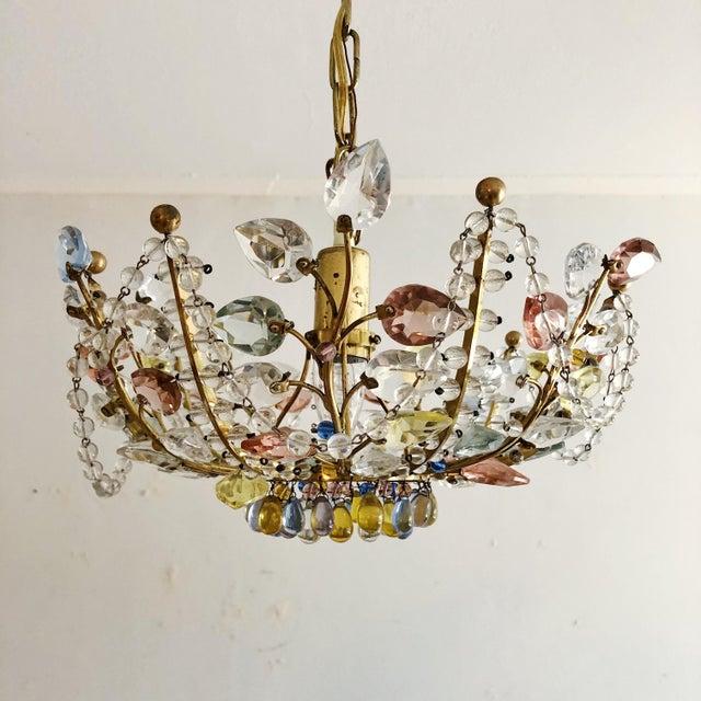 Antique Maison Bagues Style Multi Color Austrian Crystal Ceiling Pendant Chandelier on Brass Frame. Original wiring. Drop...