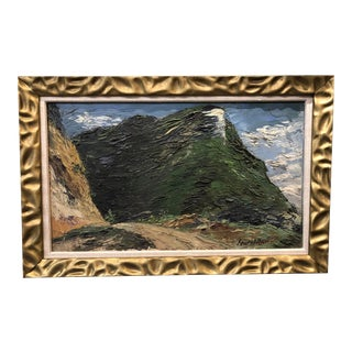 French Landscape Heavy Impasto Painting on Board For Sale