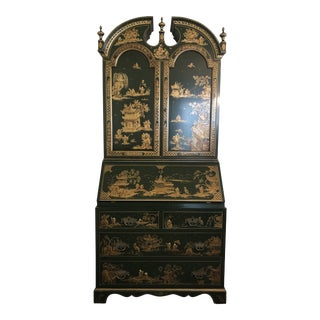 Chinoiserie Emerald Green Color Secretary Cabinet For Sale