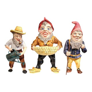 Mid-Century French Hand-Painted Barbotine Gnomes Figurines - Set of 3 For Sale