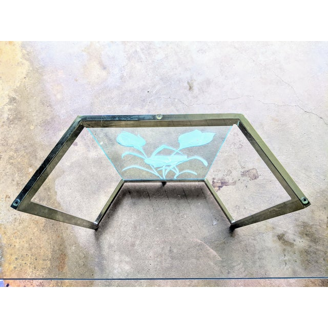 1970s Boho Chic Glass Desk or Dining Table For Sale - Image 11 of 13