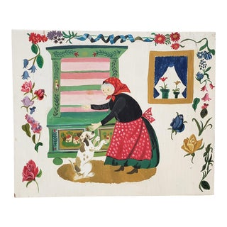 Vintage Illustration Painting of a Woman With a Dog For Sale