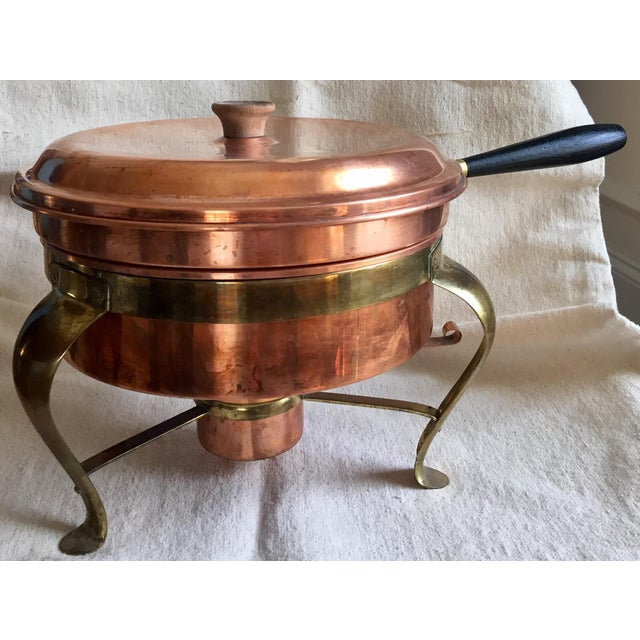 This is a gorgeous bright copper 5 piece chafing set made by Tagus of Portugal. It was a wedding gift in 1964. It has a...