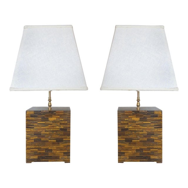 Tessellated Tigers Eye Table Lamps - A Pair - Image 1 of 10