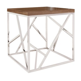 Modern Silver & Wood Side Table