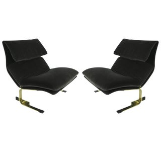 Pair of Bronze Onda Lounge Chairs by Saporiti Italia For Sale