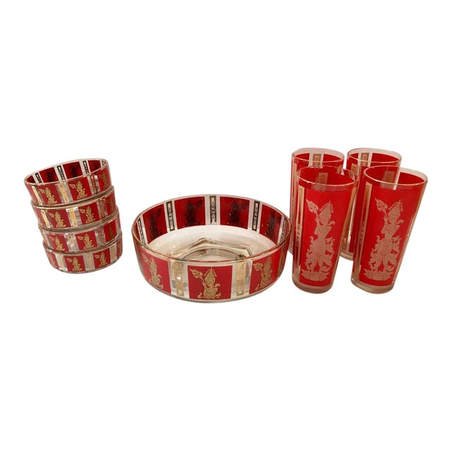 """Culver Mid-Century Red & 22k Gold """"Thai Goddess"""" Drinks - Set of 9 For Sale"""