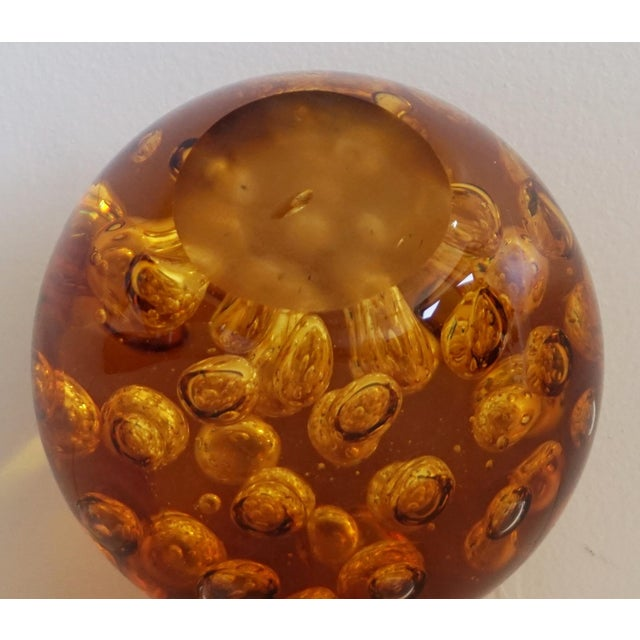 Amber Controlled Bubble Glass Orb - Image 5 of 5