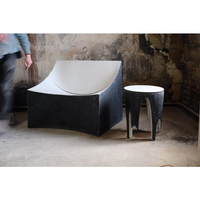 Cast Resin 'Corridor' Side Table, Black and White Finish by Zachary A. Design For Sale In Chicago - Image 6 of 7