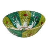 Image of Vibrant Green Porcelain Bowl With Butterflies For Sale