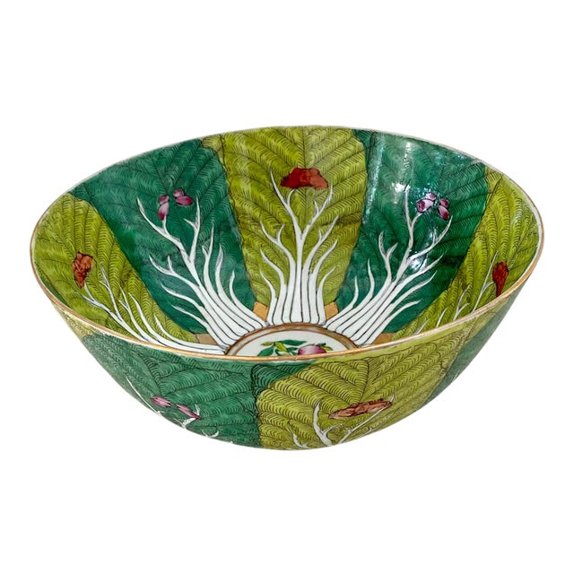 Vibrant Green Porcelain Bowl With Butterflies For Sale