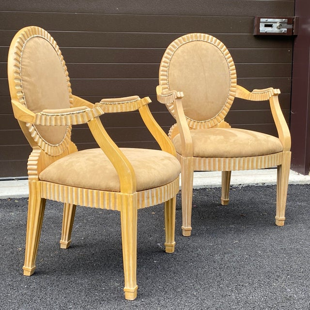 A high quality pair of armchairs with cerused solid oak carved frames and original upholstery circa 1980s unmarked.