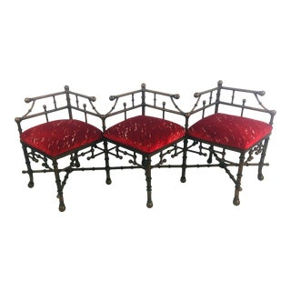 Iron and Velvet Chippendale Bench For Sale