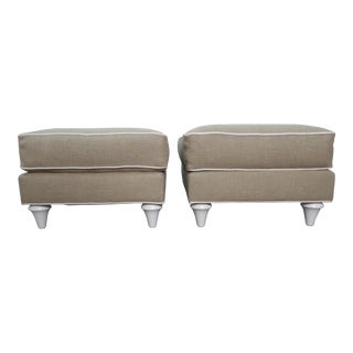 Baker Furniture Ottomans in New Upholstery- a Pair For Sale