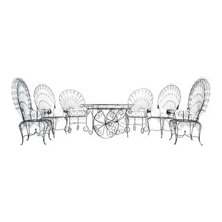 Set of Salterini Peacock Chairs + Cart For Sale