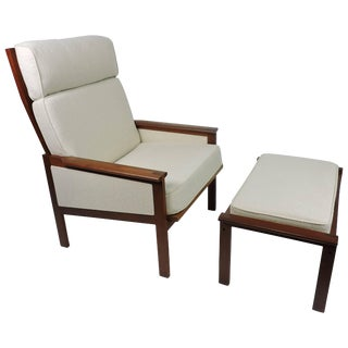 Illum Wikkelso Eilersen Danish Modern Capella High Back Lounge Chair and Ottoman For Sale