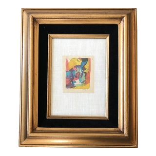 Vintage Original Miniature Ralph Nelson Abstract Painting Listed Vintage Frame For Sale