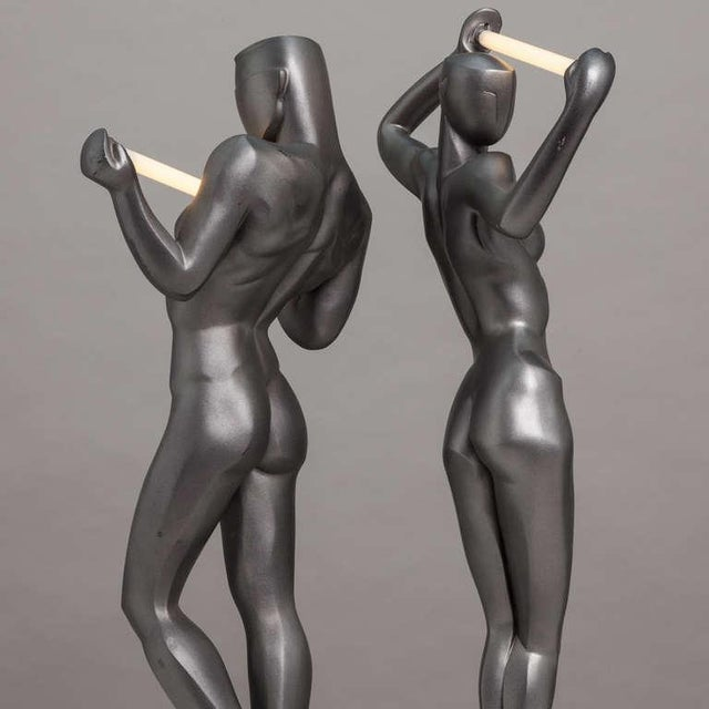 A Rare Pair of Spanish Resin Figural Lamps 1985 Stamped - Image 5 of 6