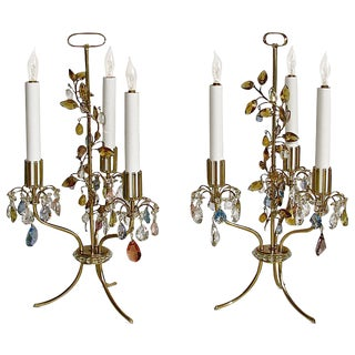 1960s Traditional Lobmeyr Haerdtl Crystal Brass Table Lamps - a Pair For Sale