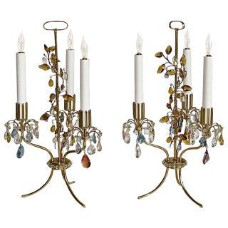 1960s Traditional Lobmeyr Haerdtl Crystal Brass Table Lamps - a Pair