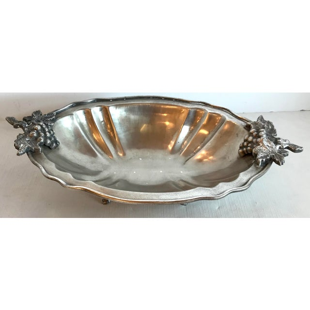 Mid 20th Century Mid Century Vintage Silver Serving Dish With Grape Motif For Sale - Image 5 of 9