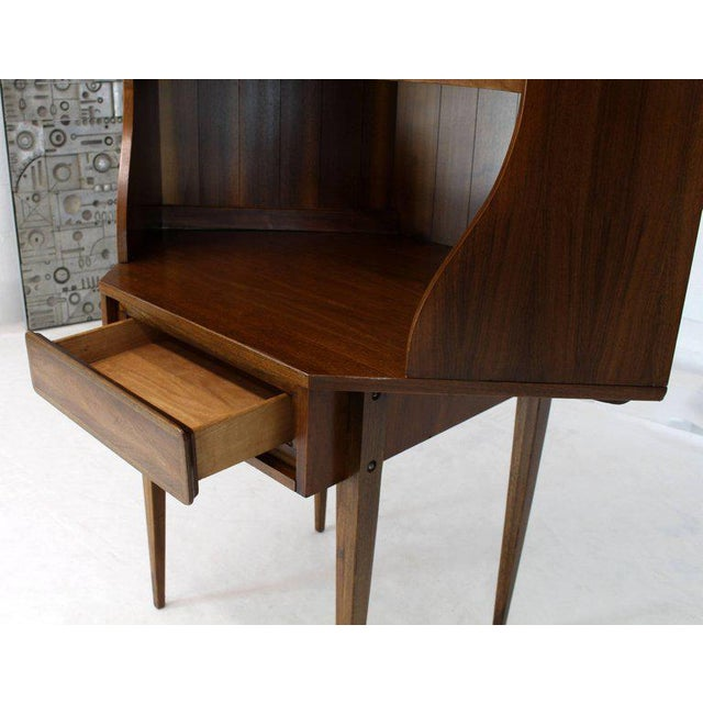 Lacquer Mid-Century Modern Two-Piece Walnut Corner Desk Table Bookcase Hutch For Sale - Image 7 of 12