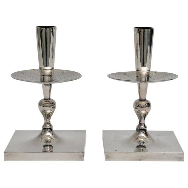 Silver Plated Candlesticks by Tommy Parzinger - a Pair For Sale - Image 13 of 13