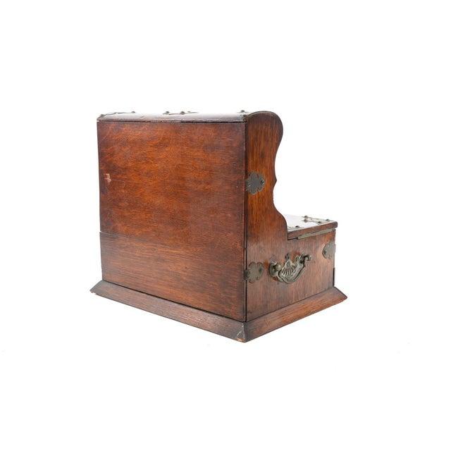 19th C Antique Captain Oak Tantalus & 3 Decanters - Image 8 of 9