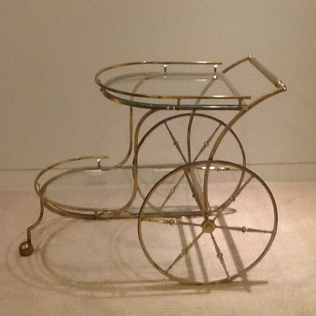 Brass Vintage Mid Century Glass and Brass Bar Cart For Sale - Image 7 of 7