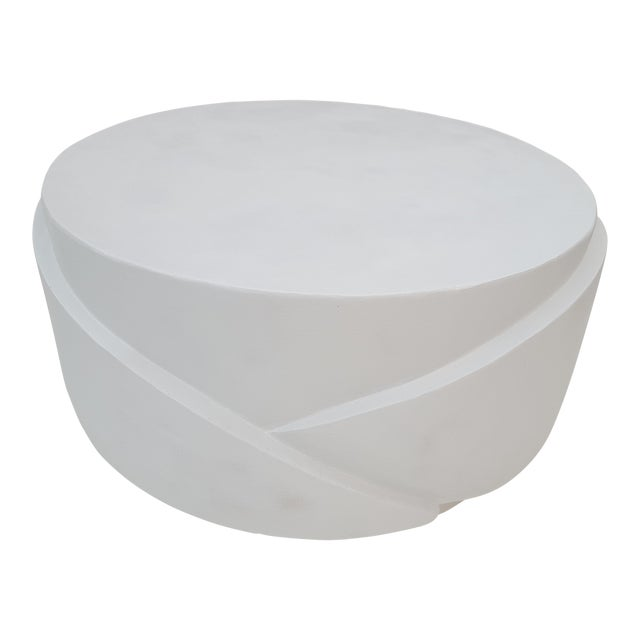 Sculptural Plaster Round Coffee Table For Sale