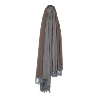 Arran Reversible Cashmere Throw, Light Gray and Mink For Sale