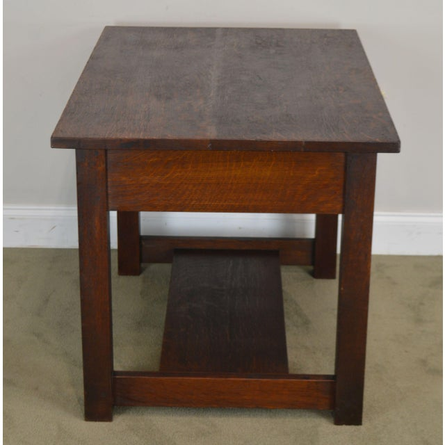 Mission Oak Antique One Drawer Table Writing Desk Possibly Stickley For Sale - Image 4 of 13
