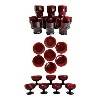 Mid-Century Ruby Red Glass Tumbler, Goblet and Plate Set For Sale