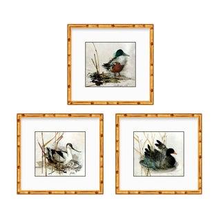 Hollywood Regency Custom Framed Gold Bamboo Vintage Duck Wall Art – Set of 3 For Sale