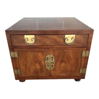 Henredon Folio Campaign Style Solid Walnut End Table For Sale