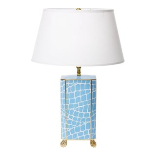 Dana Gibson Blue Crocodile Pattern Lamp