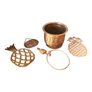 1970s Vintage Brass Pineapple Collection - Set of 5 For Sale