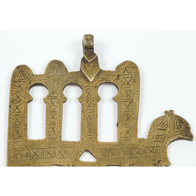 Moroccan Jewish Judaica brass khamsa. (Hand of Fatima) This beautiful piece of folk brass art originates from Morocco,...