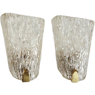 Pair of Belgian Crystal Sconces For Sale