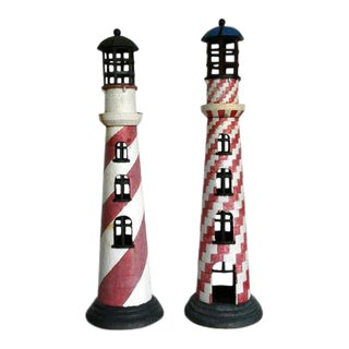 Cast Iron Lighthouses - a Pair For Sale